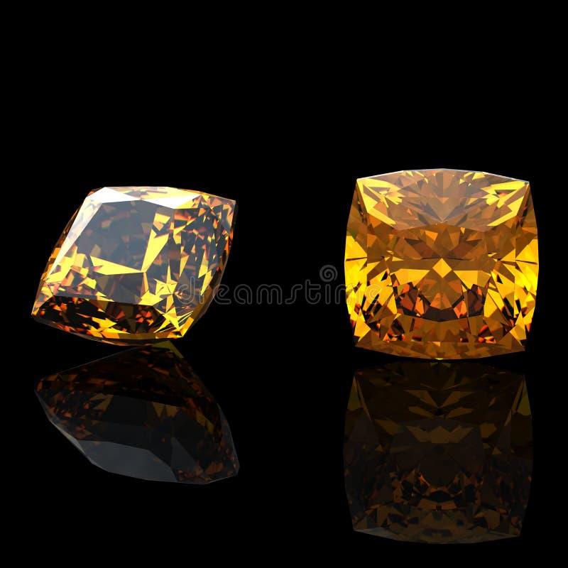 citrine kolekcj klejnotów biżuterii kwadrat royalty ilustracja