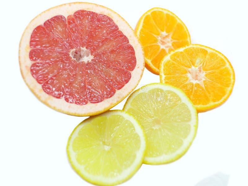 Citrino - frutos alaranjados da toranja cor-de-rosa, do limão e da tangerina em um fundo branco foto de stock