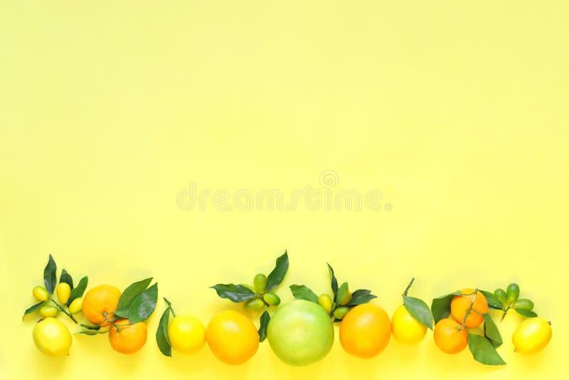Citrinos no fundo amarelo Laranja, limão, kumquat, tangerina, doce, toranja fotografia de stock royalty free