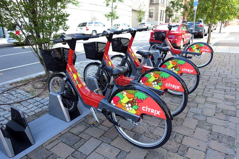 Citrix Cycle Bike Sharing Program In Raleigh, NC. Bicycles locked up at a Citrix Cycle Bike Sharing Station in Raleigh, North Carolina stock photo