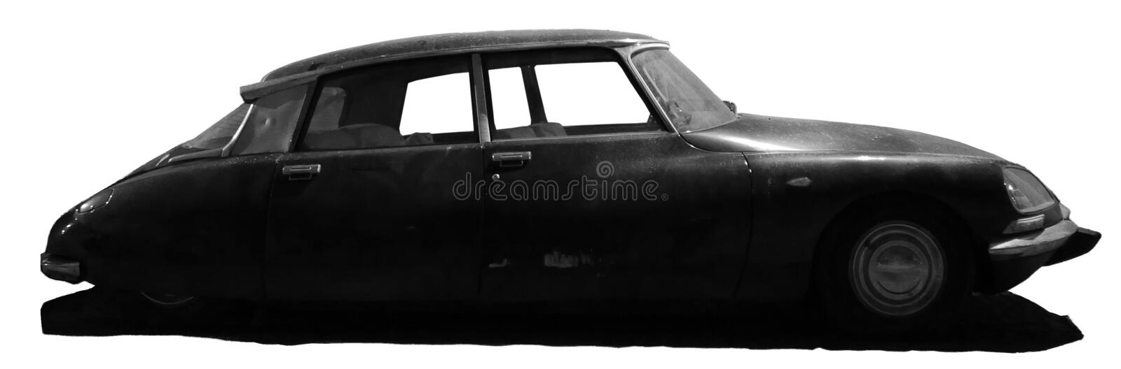 Old citroen ds black and white. The Citroën DS was manufactured and marketed by the French company Citroën from 1955 to 1975. Industrial designer Flaminio stock images