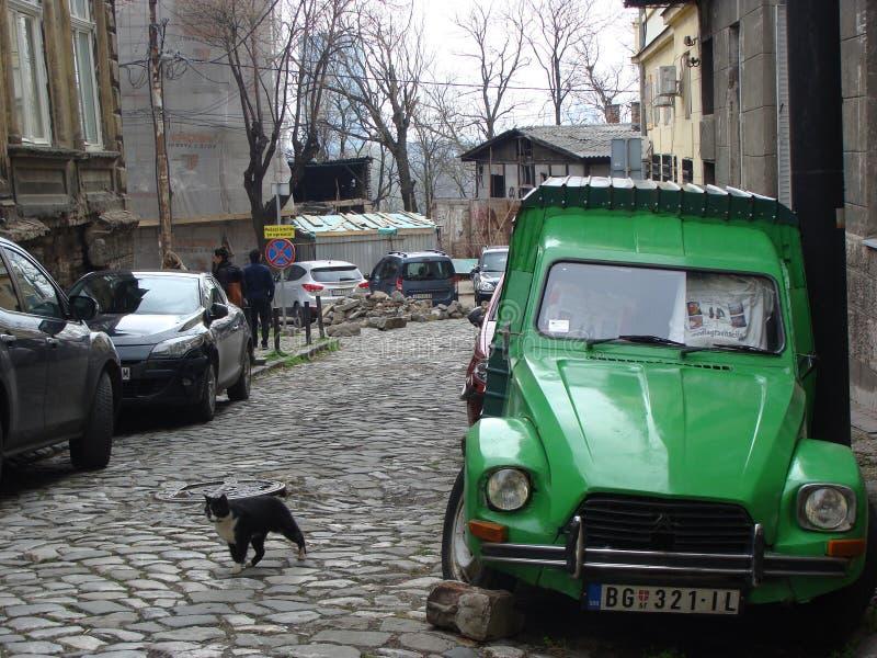 Citroen anziano Dyane nel vecchio stret a Belgrado annata cobblestone Vettore delle automobili emozioni fotografie stock