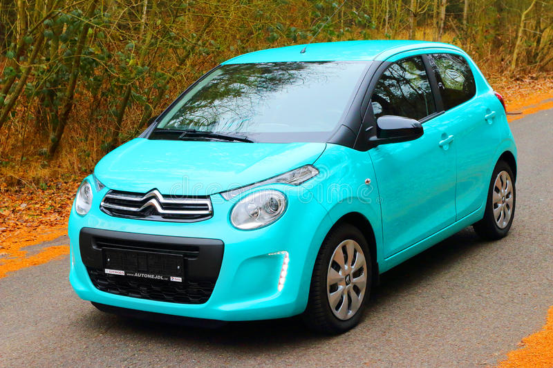 The Citroen C1. Small French car Citroen C1 with the PureTech 82 petrol engine uses ecologic technologies, for fuel consumption of 4.3l/100 km and CO2 emissions royalty free stock images