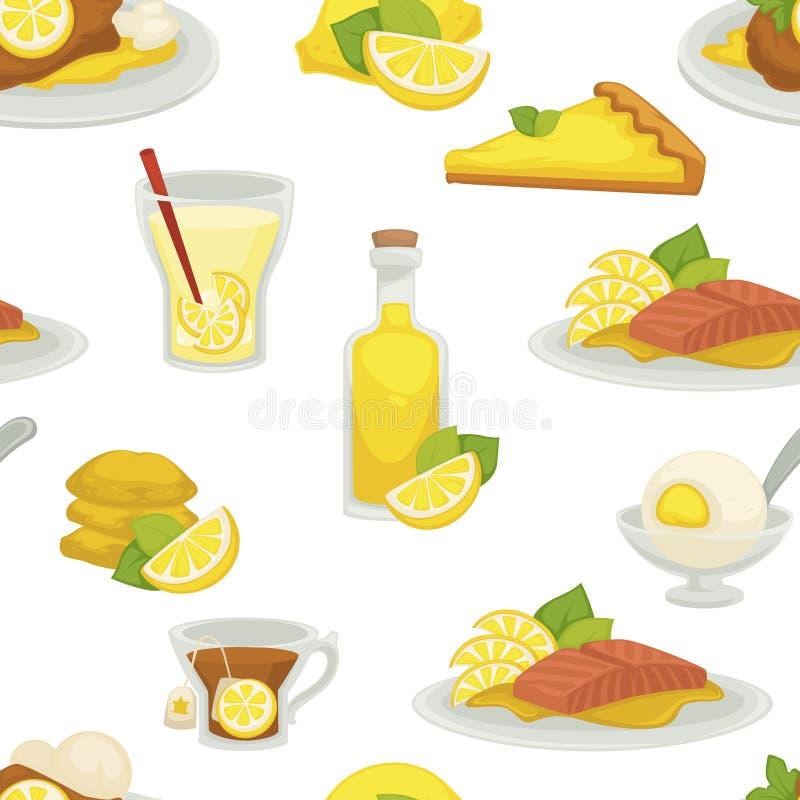 Citroen en limonade, olie in het naadloze die patroon van de glasfles op witte vector wordt geïsoleerd als achtergrond stock illustratie