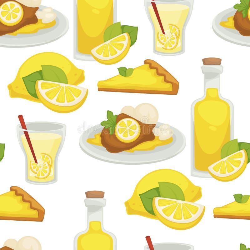Citroen en limonade, olie in het naadloze die patroon van de glasfles op witte vector wordt geïsoleerd als achtergrond vector illustratie