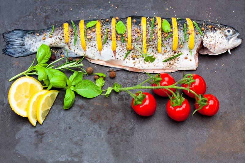 Download Citroen Gevulde Forel Met Kruiden Op Het Dienblad Stock Afbeelding - Afbeelding bestaande uit schotel, gastronomie: 54089641