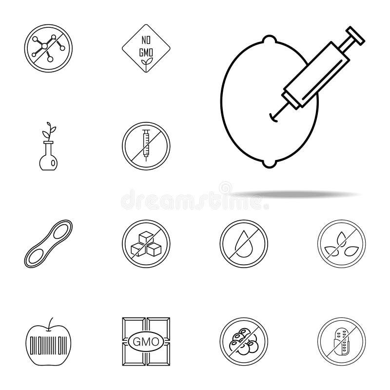 citroen, gmo pictogram GMO-voor Web wordt geplaatst dat en mobiel pictogrammenalgemeen begrip royalty-vrije illustratie