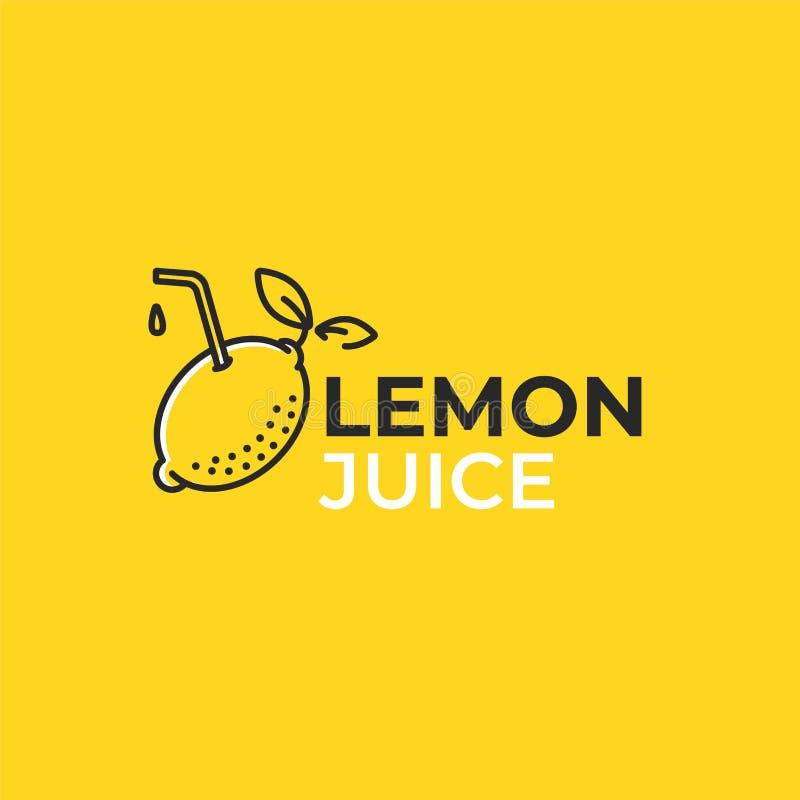 Citroen Juice Logo Logotype met heldere verse limonade De zomertekening voor een smoothieswinkel stock illustratie