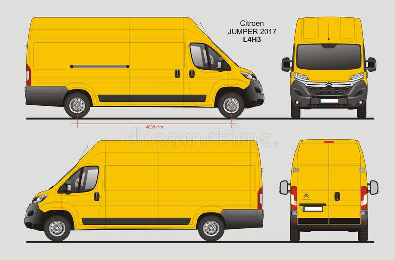 Citroen Jumper Cargo Van 2017 L4H3 Blueprint stock illustration