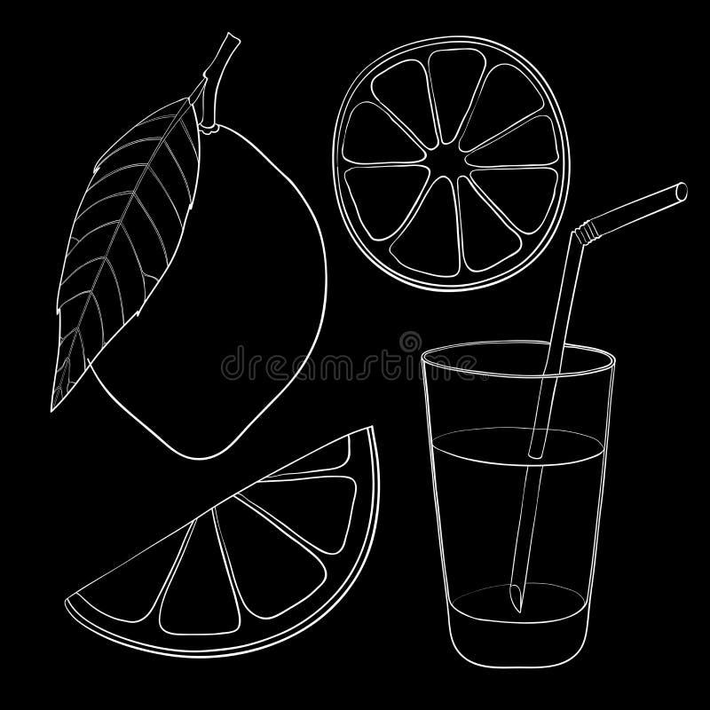 Citroen met blad, plakken en glas limonade met het drinken stro Hand getrokken schets royalty-vrije illustratie