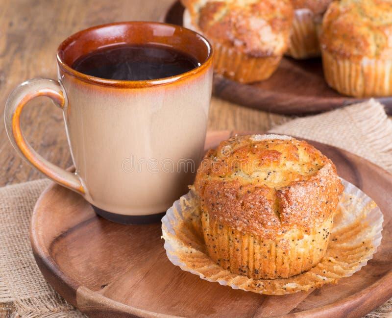 Citroen Poppy Seed Muffin stock afbeelding