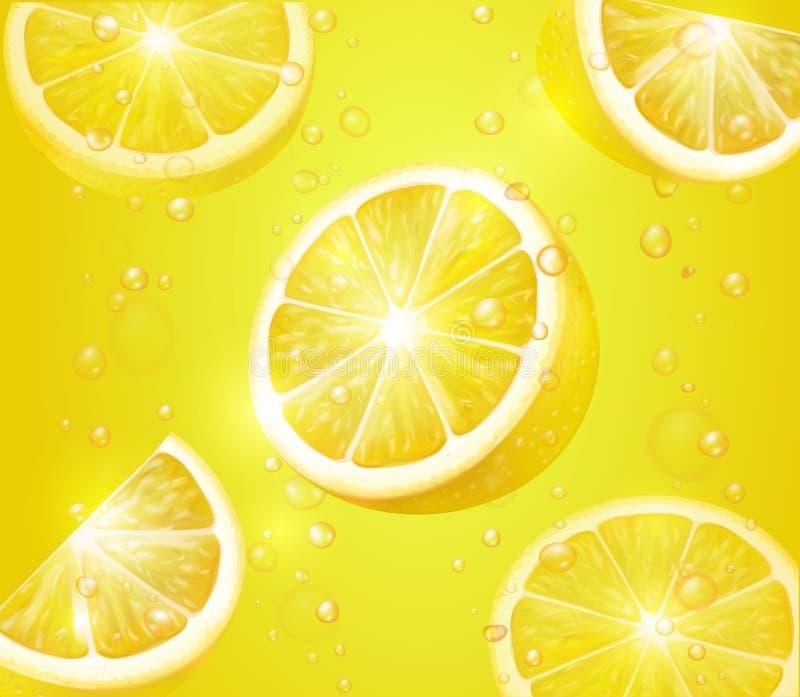 Citroen realistische achtergrond Limonade met citroenplakken en bellen vector illustratie