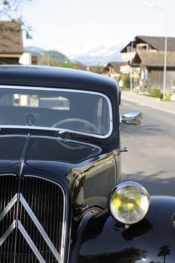 Citroen traction avant in Boningen, Switzerland. Front view, showing Citroen V grill royalty free stock photo