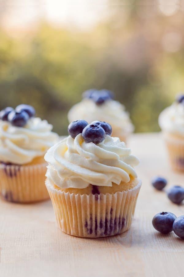 Citroenbosbes cupcake op een de zomerdag royalty-vrije stock foto