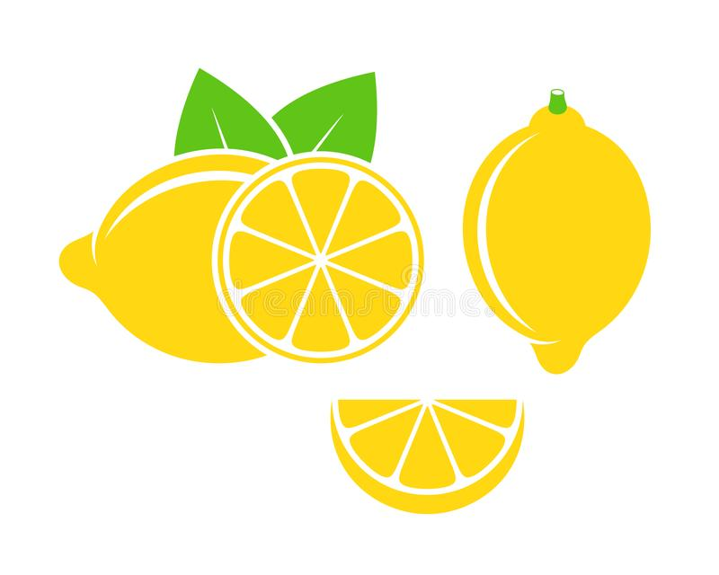 Citroenembleem Geïsoleerde citroen op witte achtergrond vector illustratie