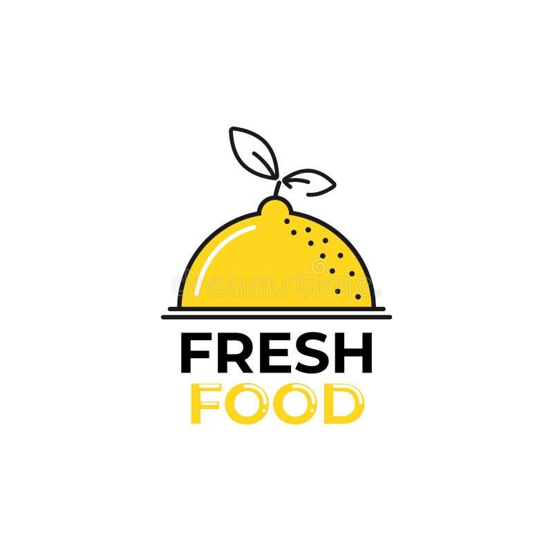 Citroenembleem Logotype met heldere verse limonade De zomertekening voor een fruitwinkel stock illustratie