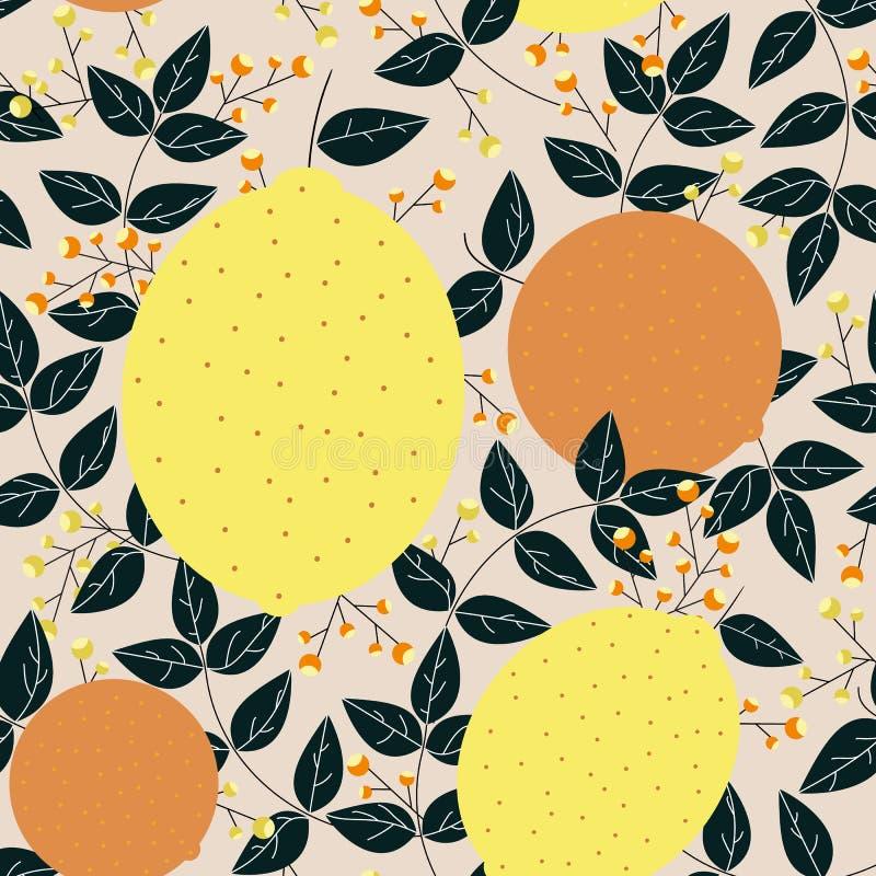 Citroenensinaasappelen met bladeren en bessen naadloos patroon royalty-vrije illustratie