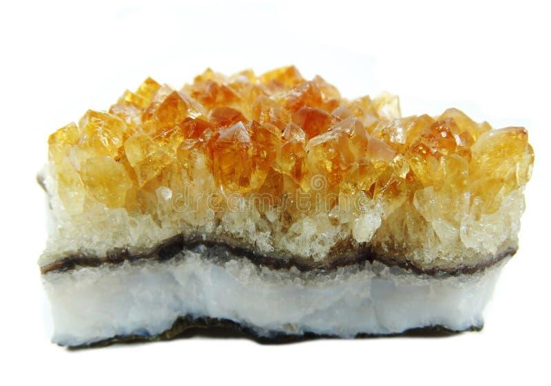 Citroengele geode geologische kristallen royalty-vrije stock foto