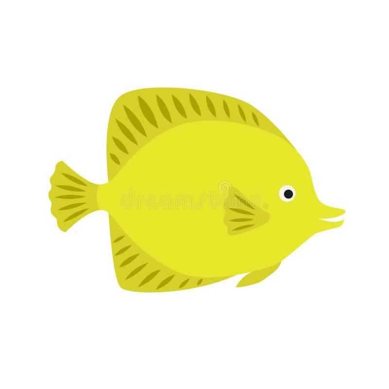 Citroengele vissen heldere oceaanvissen stock illustratie