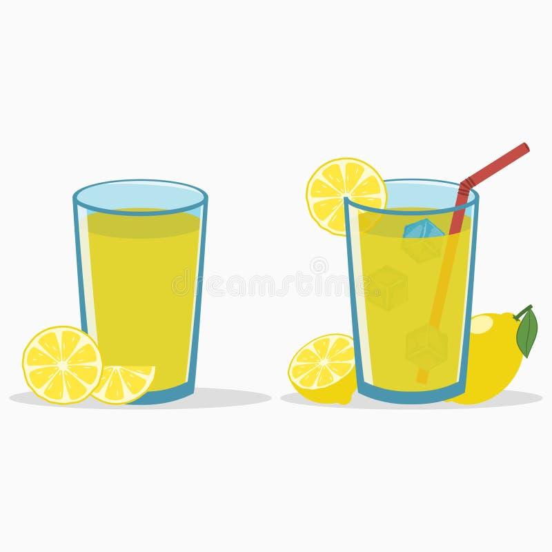 Citroensap in een glas met citroenplak en half Natuurlijke verse citrusvruchtendrank met stro en ijsblokje limonade Vector stock illustratie