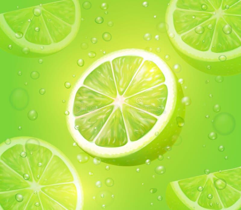 Citroensap groene achtergrond Verfrissende citrusvruchtendrank met bellen en dalingen Mojito vectorcocktail stock illustratie