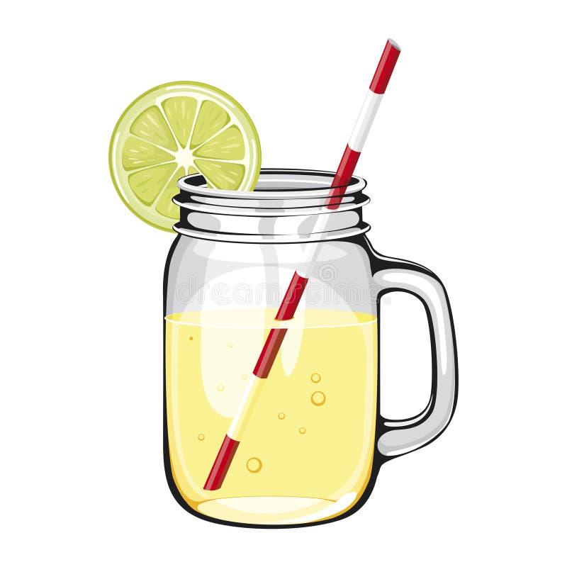 Citroensap, smoothie, in een metselaarkruik stock illustratie