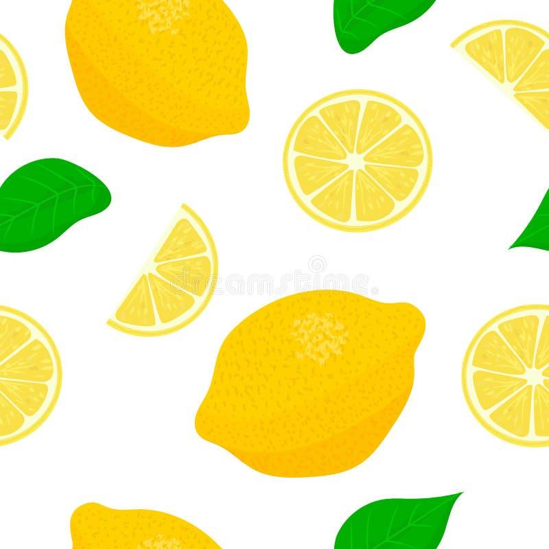 Citroenthema Naadloze patroon vectorinzameling van realistische vruchten en plakken royalty-vrije illustratie