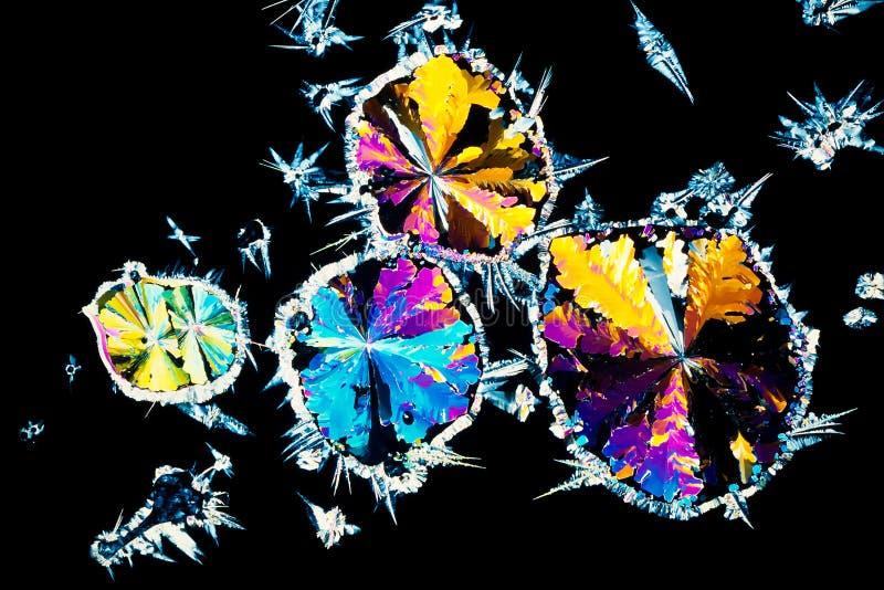 Citroenzuurkristallen in gepolariseerd licht stock foto's