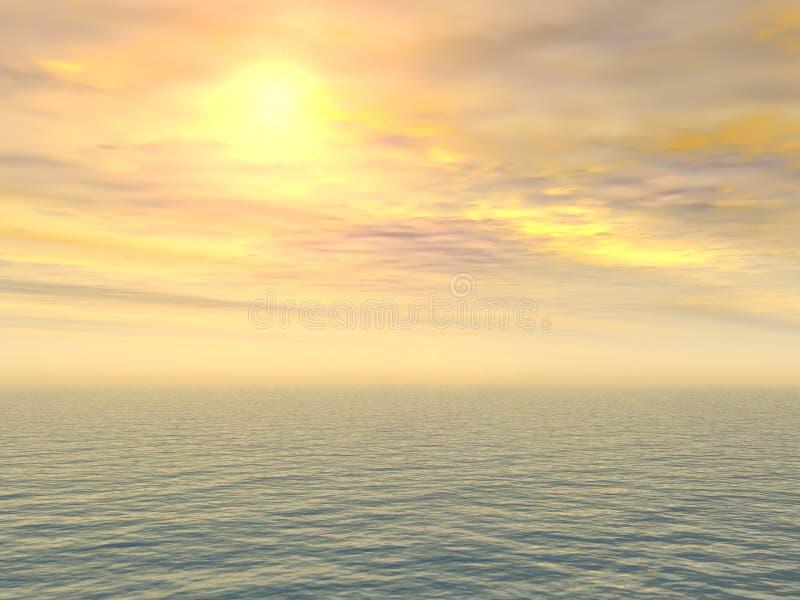 citron över SAD havssolnedgång royaltyfri illustrationer