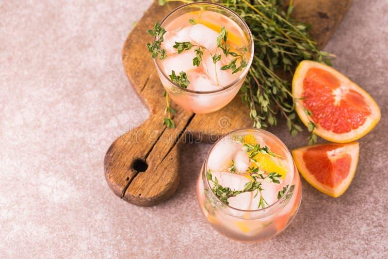 Citron amer de genièvre avec le thym et le pamplemousse Limonade de fruit photos stock