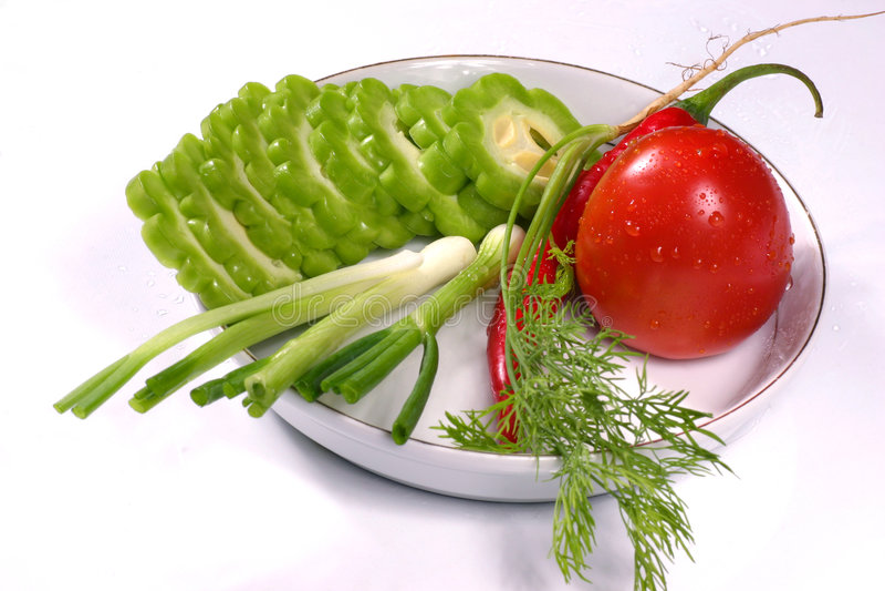 Citron amer, tomate, aneth, s/poivron et oignon vert de source photos stock
