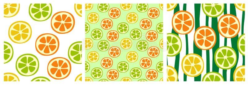 Citron-, apelsin- och limefruktskivor Sömlös modelluppsättning för frukt Modedesign Mattryck för kläder, linnar eller gardin teck stock illustrationer