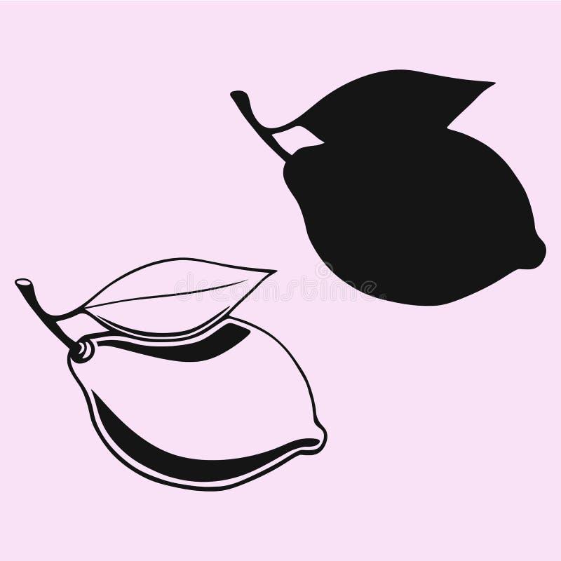 Citron avec la silhouette de vecteur de feuille images stock