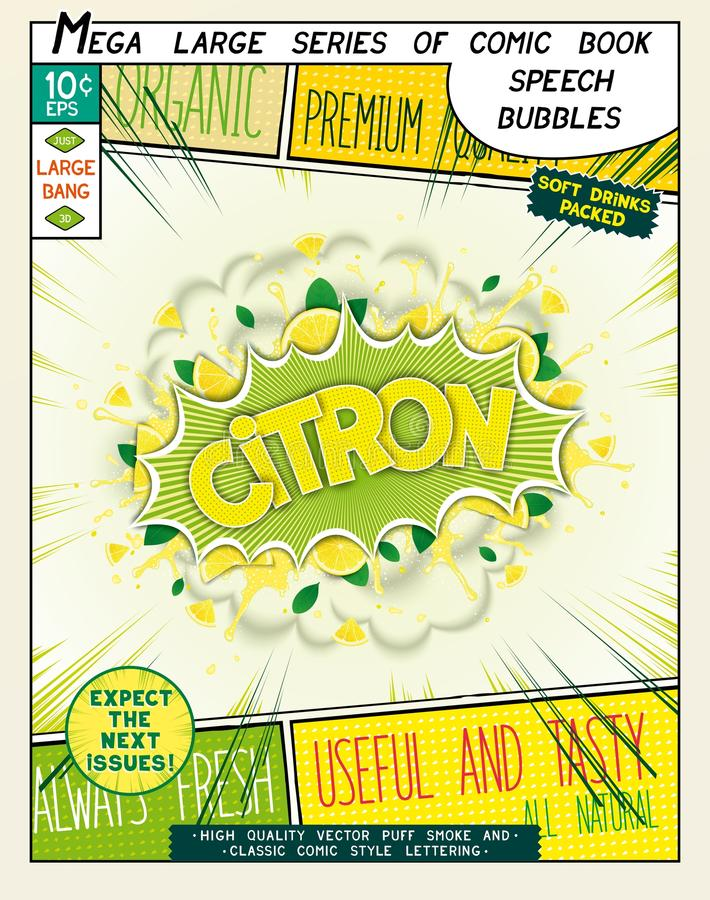 Citron. Colorful explosion with fruit, splashes and clouds of smoke. With caption in comic style. 3D realistic pop art speech bubble royalty free illustration