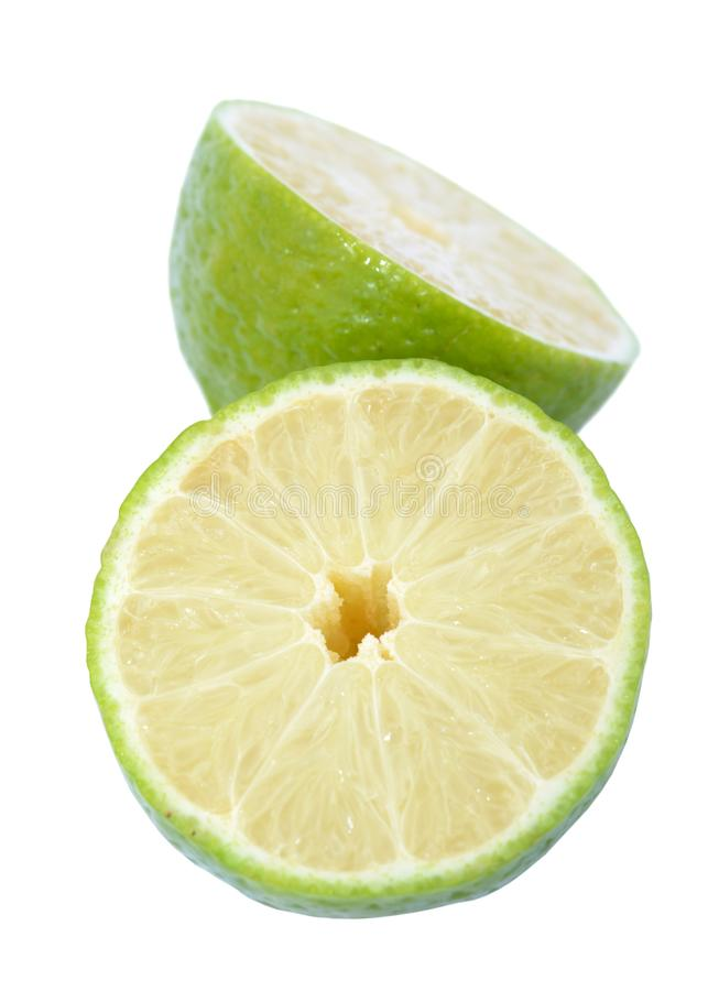 Citron coupé de chaux image stock