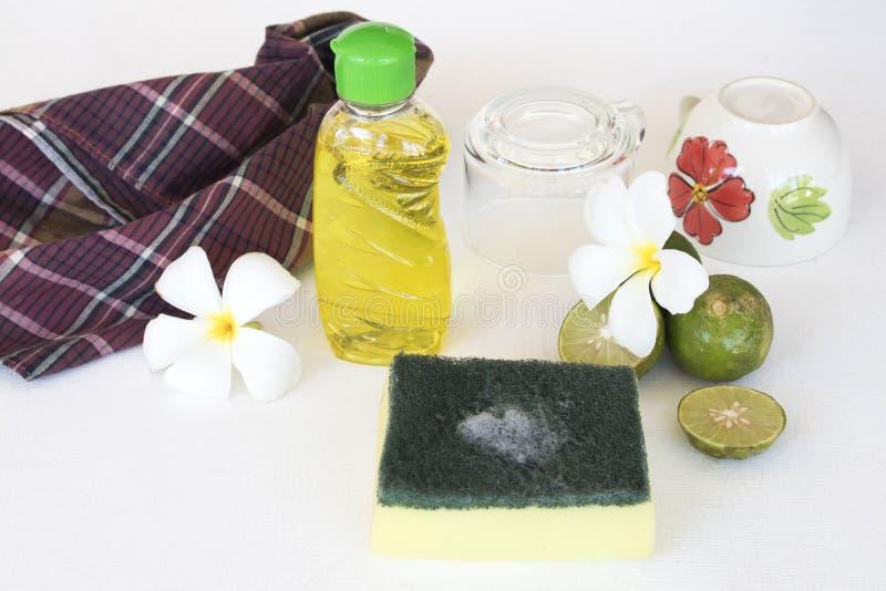 Citron de fines herbes d'extrait de liquide de lavage de plat pour propre photo libre de droits