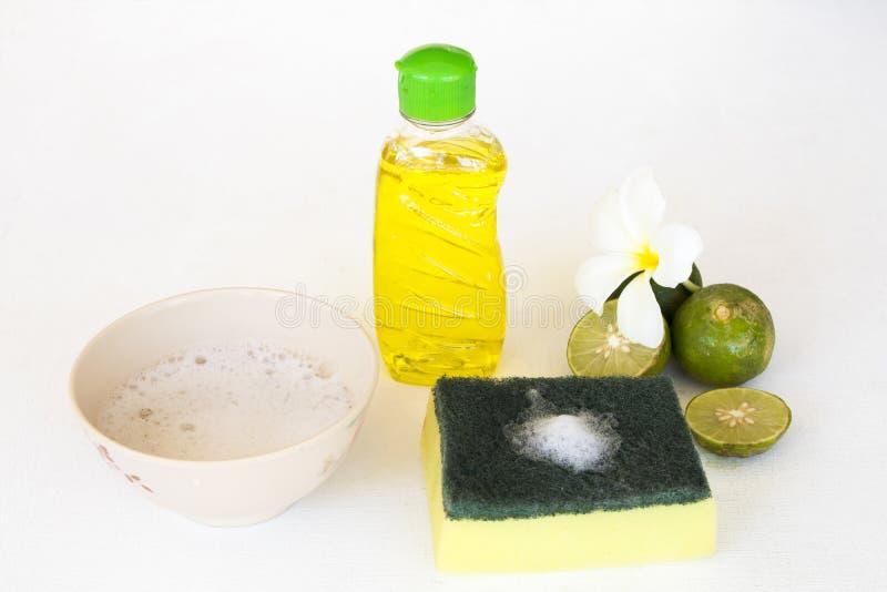 Citron de fines herbes d'extrait de liquide de lavage de plat pour propre photo stock