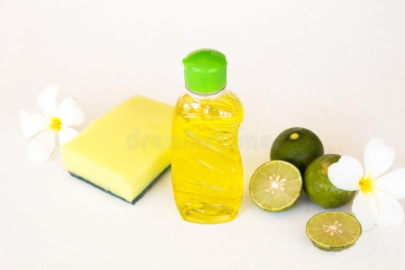 Citron de fines herbes d'extrait de liquide de lavage de plat pour propre image libre de droits