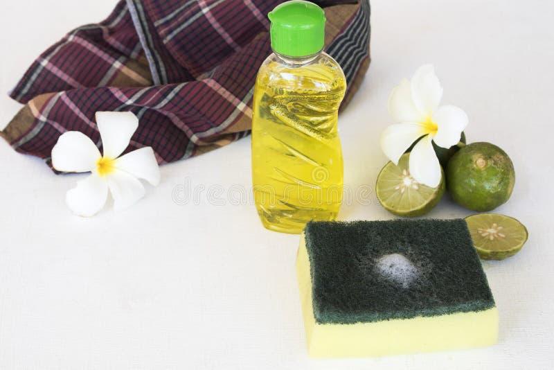 Citron de fines herbes d'extrait de liquide de lavage de plat pour propre images libres de droits