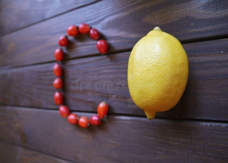 Citron et cynorrhodons images libres de droits