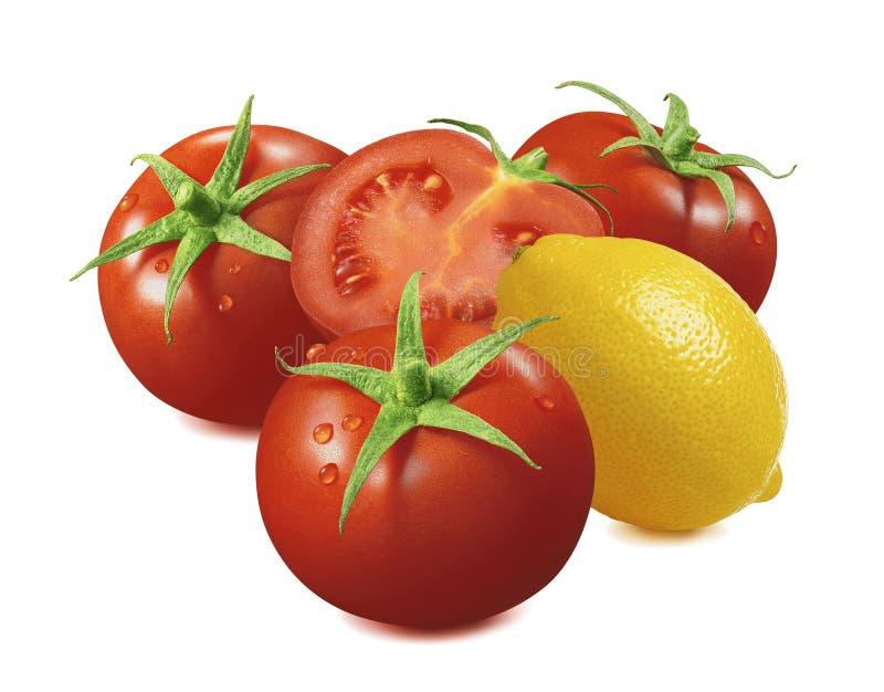 Citron et tomate avec des baisses de l'eau d'isolement sur le fond blanc image stock