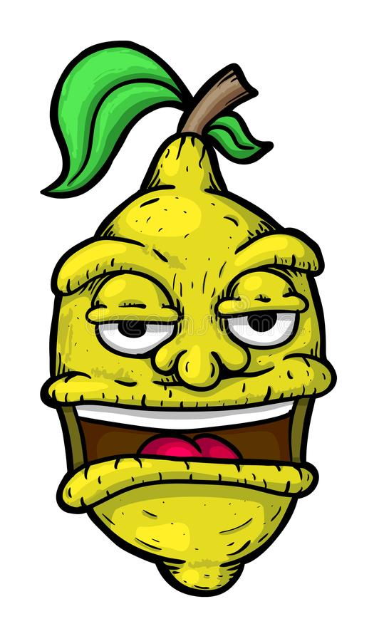 Citron with face. Vector illustration, painted stock illustration