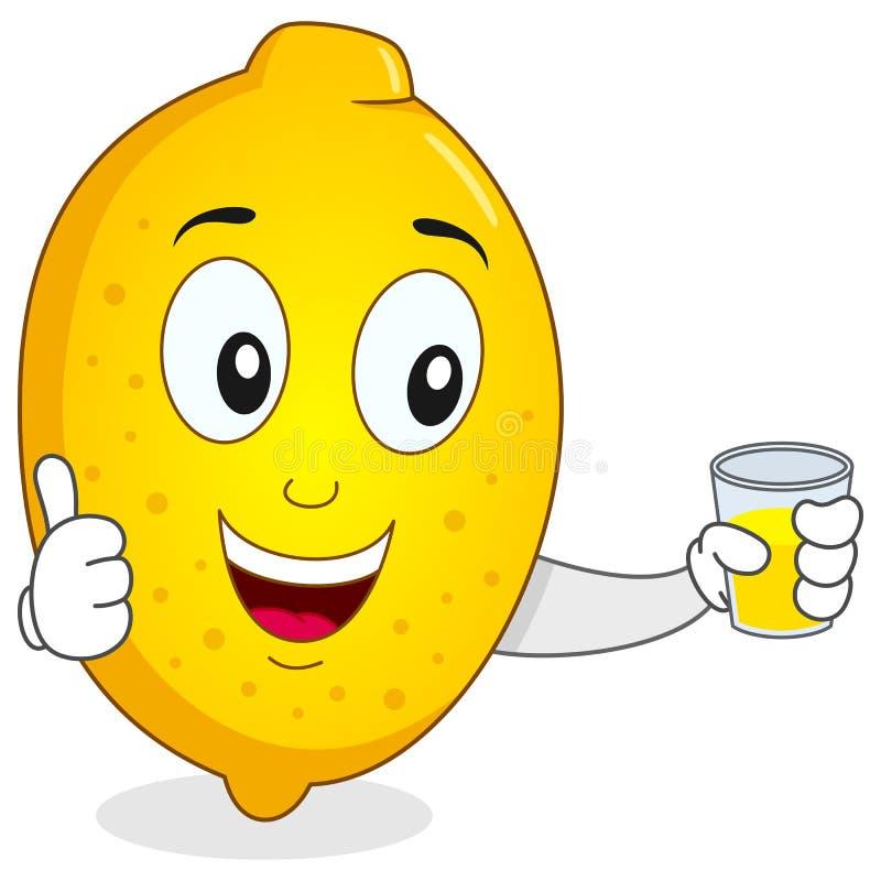 Citron heureux avec du jus serré frais illustration libre de droits