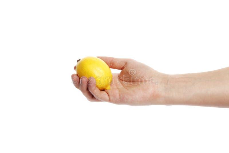 Citron i handen som isoleras på en vit bakgrund arkivbild