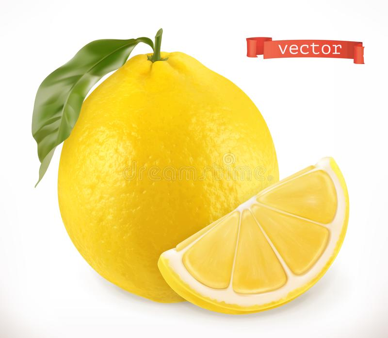 Citron Icône réaliste de vecteur du fruit frais 3d illustration de vecteur