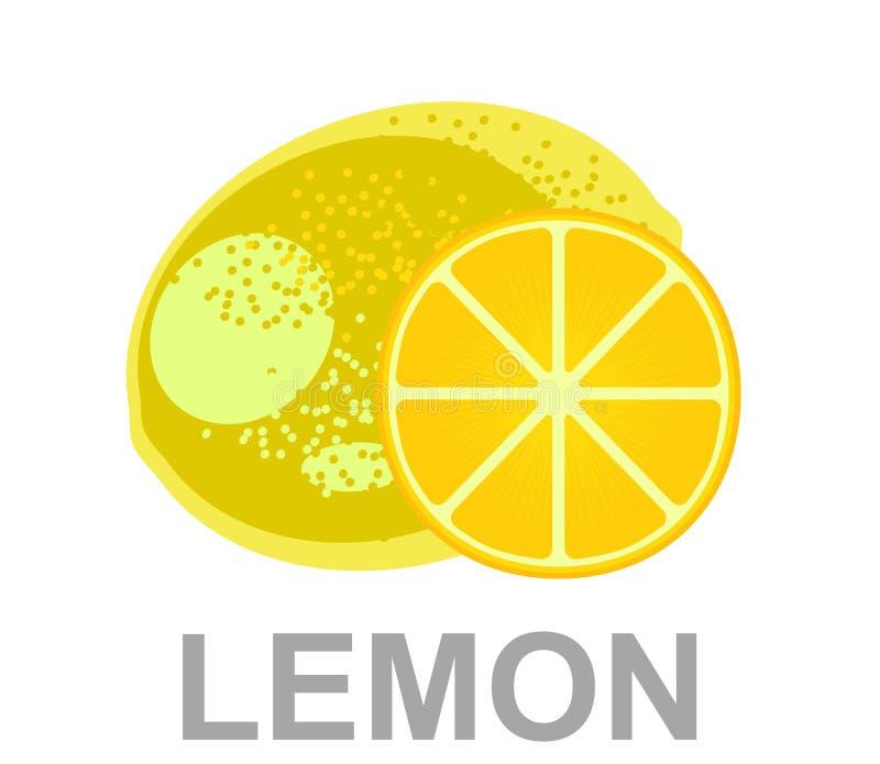 Citron juteux jaune avec une tranche de citron sur le fond blanc d'isolement illustration libre de droits