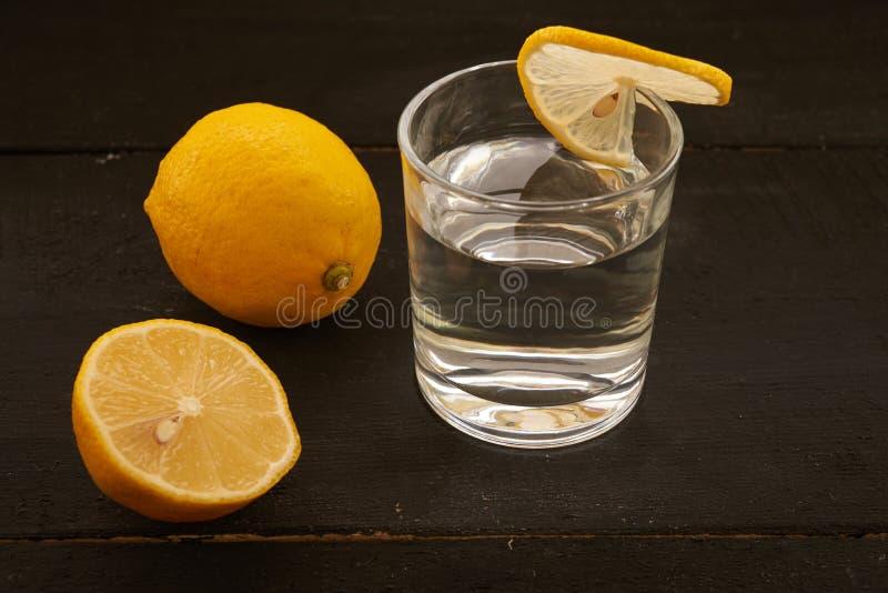 citron och ett exponeringsglas av vatten royaltyfria bilder