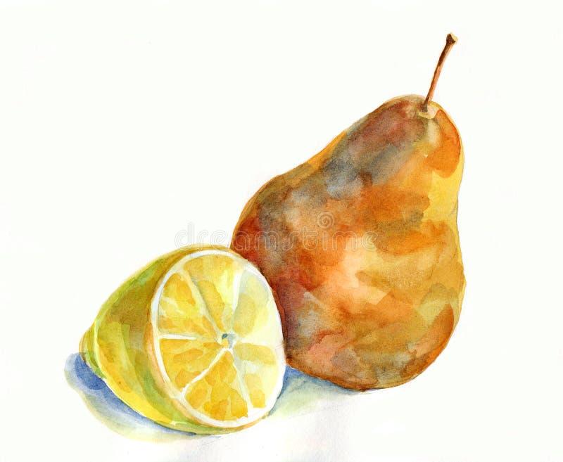 Citron och päron, vattenfärg stock illustrationer