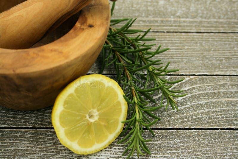 Citron och rosmarinar royaltyfri fotografi
