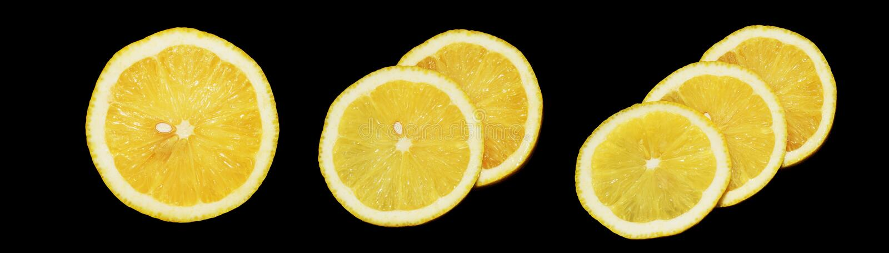Citron på svart bakgrund royaltyfria bilder